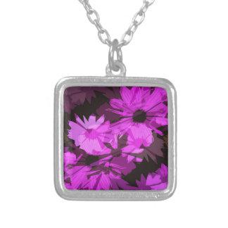 ピンクの花の抽象芸術 シルバープレートネックレス