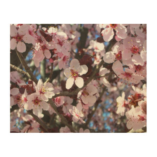 ピンクの花の春の花盛りの木の枝 ウッドウォールアート
