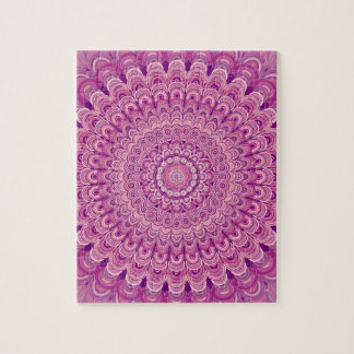 ピンクの花の曼荼羅 ジグソーパズル