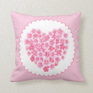 ピンクの花の枕ハート クッション