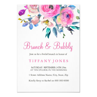 ピンクの花の水彩画のブランチ及び快活な招待 カード
