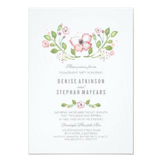 ピンクの花の水彩画の婚約パーティ カード