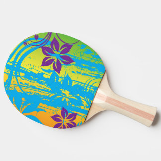 ピンクの花の渦巻のベクトル芸術 卓球ラケット
