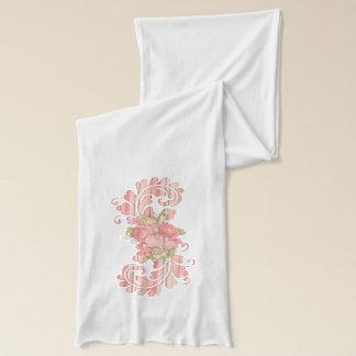 ピンクの花の渦巻の芸術 スカーフ