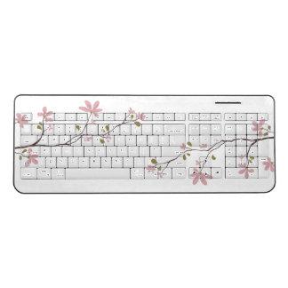 ピンクの花の無線電信のキーボード ワイヤレスキーボード