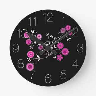 ピンクの花の爆発 ラウンド壁時計
