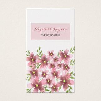 ピンクの花の結婚式の花屋の名刺 名刺