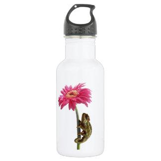 ピンクの花の緑のカメレオン ウォーターボトル