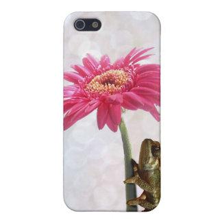 ピンクの花の緑のカメレオン iPhone 5 CASE