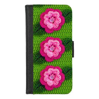 ピンクの花の自然の緑のかぎ針編みのプリント iPhone 8/7 ウォレットケース