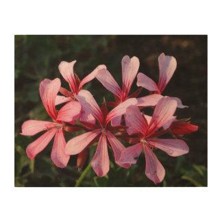 ピンクの花の花の写真の木製の壁の芸術 ウッドウォールアート