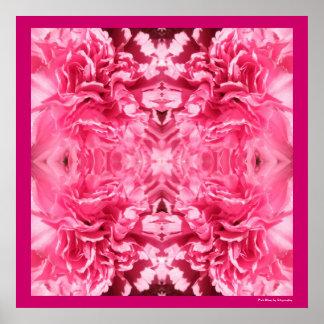 ピンクの花の花びらの対称のデザインポスタープリント ポスター