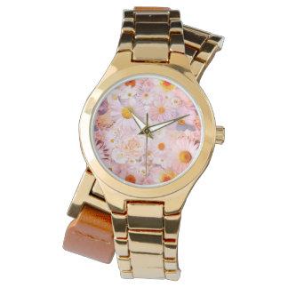 ピンクの花の花束の花の結婚式の花嫁の春 腕時計