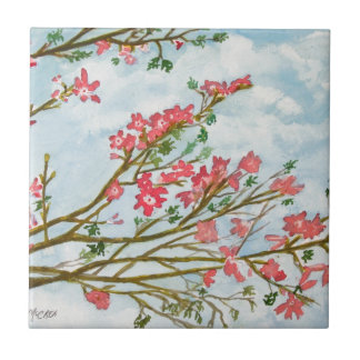 ピンクの花の花柄のギフト タイル