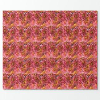 ピンクの花の花 ラッピングペーパー