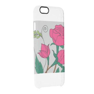 ピンクの花の電話箱 クリアiPhone 6/6Sケース