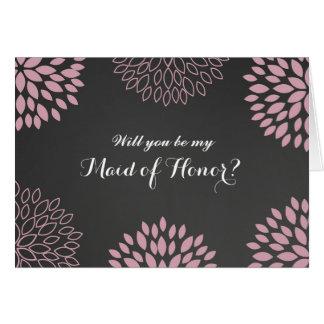ピンクの花の黒板は私のメイド・オブ・オーナー(花嫁付き添い人)カードです カード