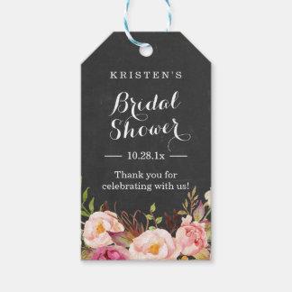 ピンクの花の黒板|のブライダルシャワーは感謝していしています ギフトタグ