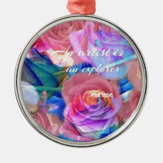 ピンクの花のMatisseの引用文 メタルオーナメント