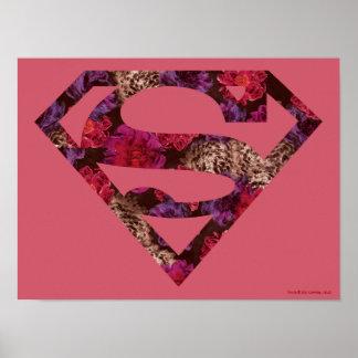 ピンクの花のS盾 ポスター