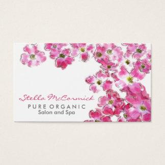 ピンクの花は美容院スパの活気付きます 名刺