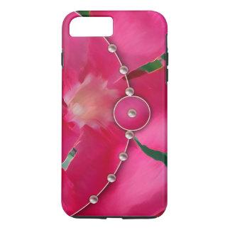 ピンクの花びらおよび真珠 iPhone 7 PLUSケース