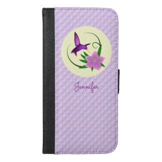 ピンクの花を持つハチドリ iPhone 6/6S PLUS ウォレットケース