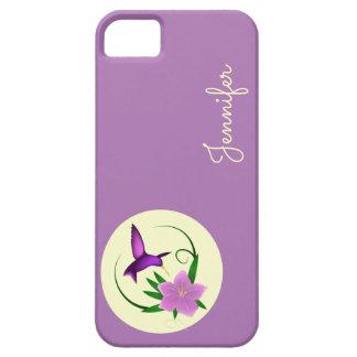 ピンクの花を持つハチドリ iPhone SE/5/5s ケース