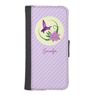 ピンクの花を持つハチドリ iPhoneSE/5/5sウォレットケース