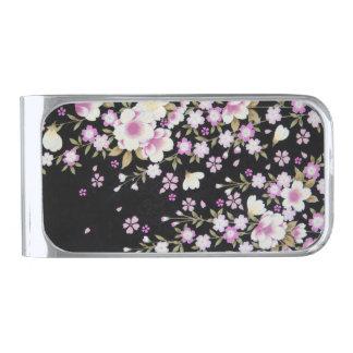 ピンクの花を滝のように落とすFalln シルバー マネークリップ