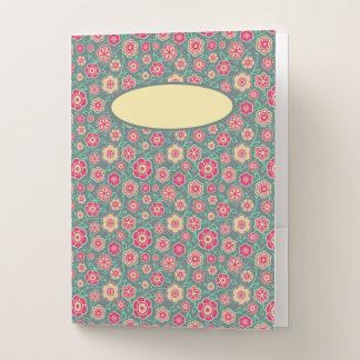 ピンクの花パターン学校のノートを持つティール(緑がかった色) ポケットフォルダー
