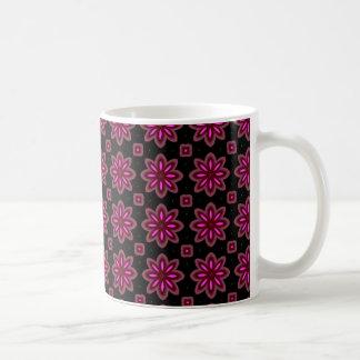 ピンクの花パターン コーヒーマグカップ