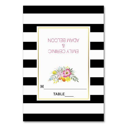 ピンクの花及びストライプでモダンな結婚式の護衛カード カード