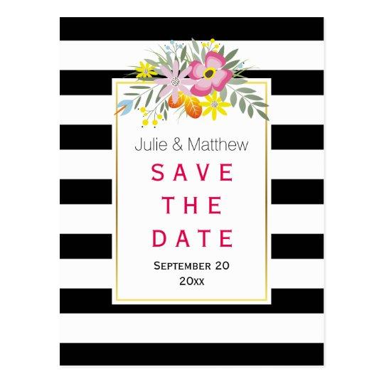 ピンクの花及びストライプな結婚式の保存日付 はがき