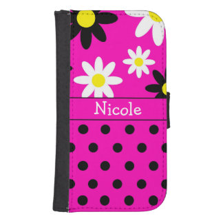 ピンクの花及び水玉模様の財布の電話箱 ウォレットケース