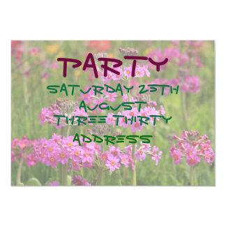 ピンクの花園の招待状 カード