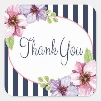 ピンクの花柄および濃紺のストライプありがとう スクエアシール