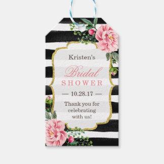 ピンクの花柄のストライプなブライダルシャワーは感謝していしています ギフトタグ