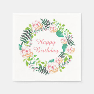ピンクの花柄のバラのリースのハッピーバースデー スタンダードカクテルナプキン