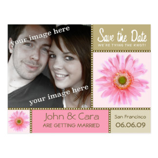 ピンクの花柄の保存日付の郵便はがき ポストカード