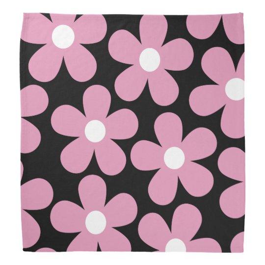 ピンクの花柄 バンダナ
