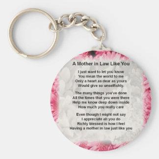 ピンクの花柄-義母の詩 キーホルダー