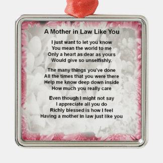 ピンクの花柄-義母の詩 メタルオーナメント