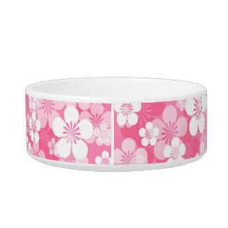 ピンクの花模様媒体のペットボウル ボウル