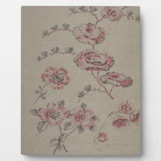 ピンクの花模様-フランス語 フォトプラーク