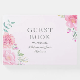ピンクの花花束の水彩画の結婚式 ゲストブック