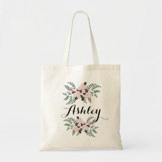 ピンクの花花束Iの新婦付添人の名前をカスタムする トートバッグ