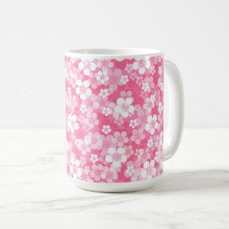 ピンクの花15のozのマグ コーヒーマグカップ