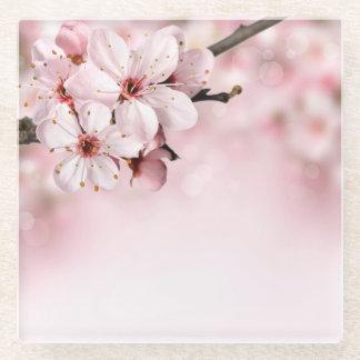 ピンクの花 ガラスコースター