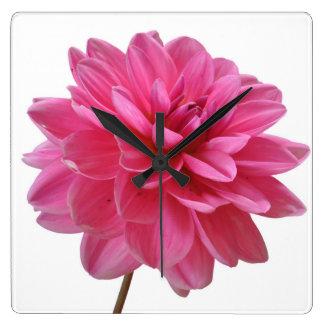 ピンクの花 スクエア壁時計